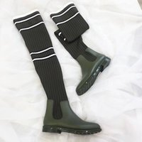 Wholesale Womens Striped Fashion Socks - 2017 fall winter Womens black Army Green Rubber pvc up with Striped Stretch Cotton knit sock Fabric Over The Knee Thigh tall star Boots