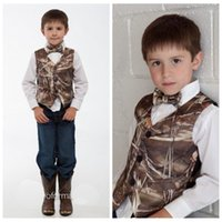 Wholesale Boys Satin Tie - Reed Bulrush Camo Boy Vest Kids Formal Wear Boy's Wedding Wear With Tie Camouflage Boy Outwear Cheap Wedding Wear Country Cheap Sale