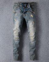 Wholesale designer jumpsuit - Famous Brand Designer Men Jeans Ripped Jeans Blue Rock Star Mens Jumpsuit Designer Denim Male Pants 8863