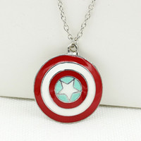 Wholesale First Faces - The Avengers Captain America Shield Necklaces Super Hero Captain America The First Avenger Pendant Necklace and Keychain Free Shipping