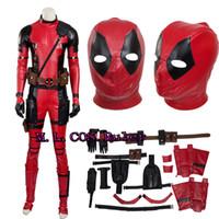 Wholesale custom deadpool - NEW Version X-Men Deadpool Mutants Wade Cosplay Costume Any Size Full Set with Mask High Custom Made