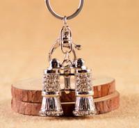 Wholesale telescope jewelry online - Fashion metal telescope shaped key chain Rhinestone encrusted telescope key ring Creative jewelry hold the keys
