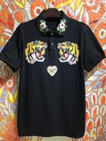 Wholesale Korean Polo Shirts - 2017 summer men's short sleeve T-shirt, Korean tiger head embroidery pattern, lapel polo shirt, trend coat