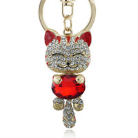 Wholesale Lucky Cat Car - Lucky Enamel Smile Cat Crystal Rhinestone HandBag Keyring Keychain Purse Bag Buckle For Car Party Gift Keyfob Jewelry K218