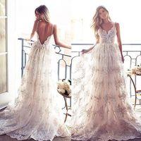Wholesale Long Layered Skirts - Lurelly Bridal Lace Applique Layered Skirts Boho Beach Spaghetti Wedding Dresses 2017 Backless Full length Elegant Wedding Gowns