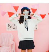 ingrosso merletto lungo scuro blu-Autunno New Sailor Collar manica lunga coreano moda donna pullover maglioni Lace Up Preppy blu scuro maglia bianca Top
