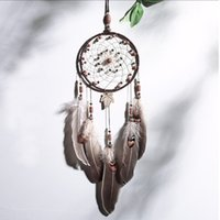 ingrosso perle di foglie di acero-Fashion Maple Leaf Dream Catcher con piume Bead Gray Wind Chime Handmade Dreamcatcher Wall Hanging Carft