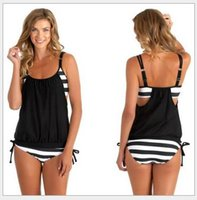 Wholesale Conjoined Bikini - 2016 Europe and the United States the new hot style black and white stripe two-piece conjoined bikini