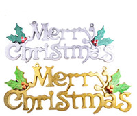 Wholesale Decorative Wall Plaques - Merry Christmas Plaque Sign Home Shop Dooration Wall Decorative Christmas Tree Pendant Drop Ornament 30cm to 60cm gold silver