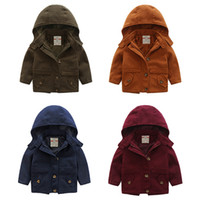 Wholesale Boy Winter Wool Coat - Boys clothes Kids clothing Winter Woolen coats Hooded trench coats outwear Middle length 1-6years 2016 Brand Free shipping DHL Navy red gray