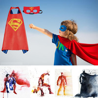 Wholesale Super Hero Clothes - Pretty Kids Capes 70*70cm Children's Superhero Capes Masks for Cosplay Costumes Clothing or Party Dress for Halloween Costumes Free Shipping