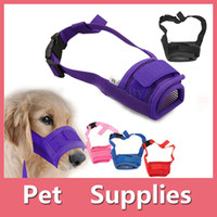 Wholesale Mask Hair Accessories - 5 Colors Adjustable Nylon Dog Muzzle Pet Puppy Mesh Mouth Mask Anti Biting Barking S-XL Sizes