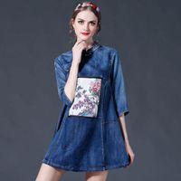 Wholesale Cheongsam Mini Skirt - 2016 new European spring fashion Pankou cheongsam brand 3 4 long sleeve denim skirt