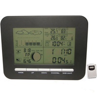 Wholesale Weather Barometers - Digital Barometer Weather Station Table Dual Alarm Clock w  Indoor Thermometer Hygrometer Wireless Outdoor Temperature Humidity Transmitter