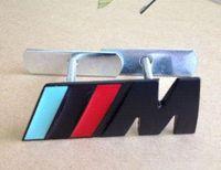 Wholesale Logo Metal M - Chrome Metal M Power Car Front Grill M Badge Logo EMBLEM for BMW X1 M3 X5 E46 Car Accessories Black