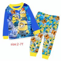 Wholesale Minion Pajamas For Girls - wholesale 2017 Baby Minions Clothes Two Piece Cartoon Suit Girls Boys Long Sleeve T-shirts Pants Clothing Sets For 2-7Y 9220