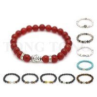 Wholesale Budda Bracelets - 8'' (20cm) Howlite Calaite Black Agate Natural Lava Stone Bracelets Budda Stones Bracelet for Women & Men