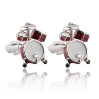 Wholesale Cufflink Silver - Personality Men Jewelry Music Lover Drum Guitar Cufflinks For Men Shirt Accessory Fashion Metal Music Design Cuff Links 0903809-4