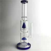füme cam aydınlatma toptan satış-Yeni 14.5 inç 18mm Cam Bongs Su Borular Mavi Işık Roket Kalın Recycler Heady Beaker Bong Petrol Kuleleri Sigara için