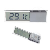 Wholesale Lcd Display Digital Auto Thermometer - LCD Display Digital Car Temperature Sensor gauge Suction Cup Bracket Windscreen Temp Thermometer Auto Household diagnostic tool