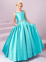 Wholesale Low Price Communion Dresses - Hot Sale Beaded Hunter With Pocket Girl Pageant Dresses Ball Gown Satin Low Prices Gold Kids Party Dresses Communion Gowns Custom Made
