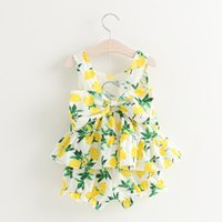 Wholesale Popular Kids Clothing - Summer girls lemon outfits baby girl's clothing sets vest tank tops+shorts 2pcs cotton kids suits with big bow latest design popular