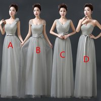 Wholesale One Shoulder Bridesmaid Dresses Tulle - 2017 Vintage Tulle Bridesmaid Dresses Lace Crop Top Ruched Floor Length Blush Mint Grey Burgundy Prom Party Gowns Custom Made