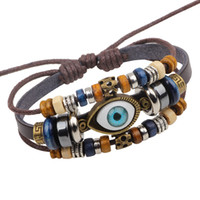 Wholesale Turkey Evil Eye Bead - Turkey Lucky Evil Eye Bead Bracelet New Style Charm Braided Hith Quality Lether three layers Bracelets LB007