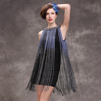 Wholesale Sequin Fringed Dress Costume - 2016 Cute Modern Classy Off the Shoulder Long Fringed Trim Sequin 1920S Flapper Dress Costumes