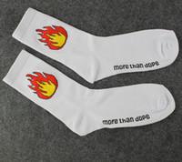 Wholesale Flame Socks - More Than Dope Flame Print Socks Fashion Unisex skateboard socks sports stockings Harajuku Socks Hiphop Socks Fashion stockings Free Shippin