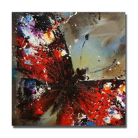 Wholesale Chinese Art Canvas - Chinese Wall Art Red Butterfly Oil Painting for Bedroom Decoration Hand Painted Oil Canvas Painting Home Decor Wall Pictures No Framed