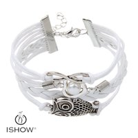 Wholesale Infinity White Pearl Bracelet - 2017 Infinity owl charm bracelets antique sliver Zinc alloy fitting bracelets unisex big glass pearl PU leather jewelry