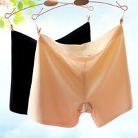 Wholesale Silk Safety Pants - Wholesale-Summer Ice Silk Seamless Women Safety Pant Shorts Leggings Seamless Modal Underwear Panties Boyshort kz292