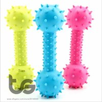 Wholesale Pet Dumbbell - Dumbbell dog toys with bell inside Pet Products Plastic Toys TPR rubber ball Toy ball dumbbell free shipping