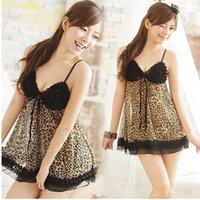 Wholesale One Piece Leopard Lingerie - Wholesale-Women Lace Leopard Sexy V-neck Straps One Piece Dress Lingerie Nightgown Sleepwear PY12