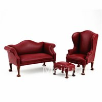 Wholesale Wood Furniture Sofa Chair - Wholesale- Dollhouse 1 12 scale miniature furniture rexine Handmade sofa Chair and Ottoman 3pcs set