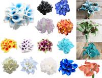калли оптовых-10 шт / много Искусственные цветы Каллы Real сенсорный каллы с Стебли Свадебный букет Weding Украшение Поддельные Цветы 19 Цвета белый синий