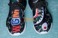 Wholesale Shark Rubber - 2017 PW HU NMD HUMAN RACE Bapes Shark Running Shoes Pharrell Williams NMDS Runner Off White Famous Brand BB0623 BB0622 Athletic Shoes