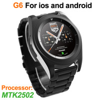 G6 inteligente reloj MTK2502 dibujo de acero inoxidable Duración de buletooth buletooth smart touch relojes de profundidad impermeable para ios de apple ipod carga USB