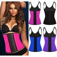 7aaa70337 4 Colors Shoulder Straps Waist Trainers Latex Sport Waist Cincher Vest  Rubber Steel Boned Waist Trainer Corset Shapewear CCA6999 20pcs