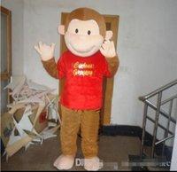 trajes de macaco para adultos venda por atacado-Alta qualidade tamanho adulto dos desenhos animados curioso george macaco mascote traje mascote traje de halloween natal venda louco