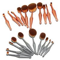 Wholesale Wholesale Bent Wire - Oval makeup brush 10pcs makeup brushes sets toothbrush eye makeup brushes set box gold silver mermaid handle bending wire makeup brushes set