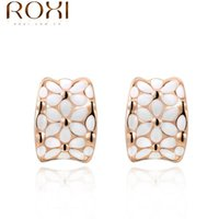 Wholesale Platinum Gold Plated Oil Drip White Flower Earrings For Women Girls Party Jewelry