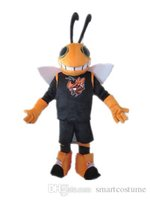 Wholesale Make Bee Costume - SX0723 Good vision and good Ventilation an orange bee mascot costume with a black shirt for sale