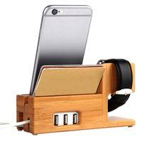 escritorio de cuna de manzana al por mayor-NUEVO cargador USB de 3 puertos con soporte para organizador de Apple Watch Phone, soporte para cuna, estación de carga de escritorio de madera de bambú para iWatch con caja