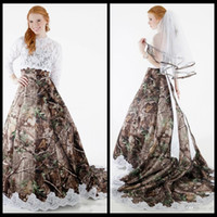 lace up strapless detachable train 2018 - 2018 Modest Camo Wedding Dresses with Detachable Wrap Lace Long Sleeves A Line Forest Camouflage Plus Size Bridal Gowns