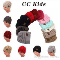 Wholesale Knitted Hats Tags - Neutral Girl Boy Folding Casual CC Tag Beanies Winter Knit Wool Kids Hat Pure Color Hip Hop Skullies Hat M048