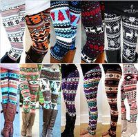 Wholesale christmas leggings wholesale - Winter Christmas Snowflake Knitted Leggings Xmas Warm Stockings Pants Stretch Tights Women Bootcut Stretchy Pants 20pcs OOA3442