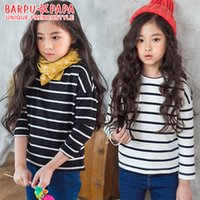 Wholesale Fashion Shirt For Kids Girls - New Korean Girls T-shirts Tops Pure Cotton Striped Pattern T-shirt Tee For Big Girl Clothing Shirts Casual Kids Top White Black A7546