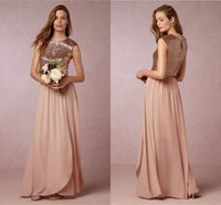 A-Line sparkle blush - Blush Pink Sparkling Sequined Chiffon Bridesmaid Dresses Split Evening Gowns Maid Of Honor Long Bridesmaid Dresses Wedding Guest Dress